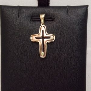 14K Yellow/White SOLID REAL  Reversible Gold Cross
